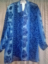 Vintage 1990s Summer Casual/Sheer Blue Floral Print Ladies Blouse, One Size All