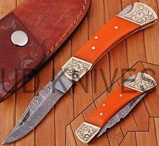 UD KNIVES CUSTOM HAND FORGED DAMASCUS STEEL POCKET FOLDING HUNTING KNIFE R-5776
