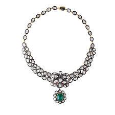 Polki Diamond Emerald Necklace Jewelry New Uncut Antique Rose Cut Diamond 6.10ct