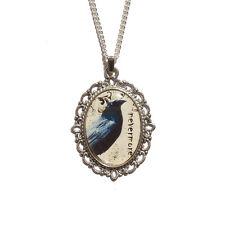 Raven NEVERMORE gothic necklace Edgar Allan Poe steampunk goth victorian silver