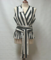 NEW MARELLA @ MAX MARA STRIPED WRAP PEPLUM BLOUSE TOP RRP £110