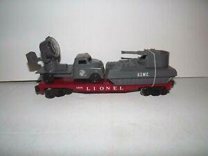 """Lionel #6808 Military Flatcar w/USMC """"Light Truck & Anti-Aircraft Tank"""""""