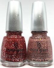 china glaze nail polish Love Marilyn 1049 + Material Girl 1050 Pink Red Glitter