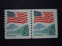 #2280 25c Yosemite Flag Pair  EFO Flag Inking Error MNH OG VF Block Tagging