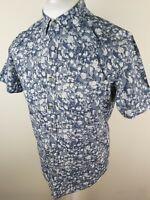 Mens Ted Baker Short Sleeve Floral Shirt Blue Medium 3 40 Chest Vvgc Gladman