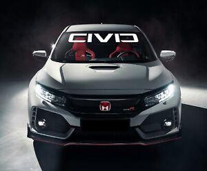 "HONDA CIVIC Windshield 4""x40"" Banner Decal Emblem Logo Graphics JDM Sport, Turbo"