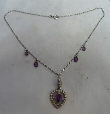 Antique Continental Silver & Amethyst Heart Necklace 43cm A666917