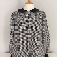 Black & white houndstooth check Peter Pan collar long sleeved blouse