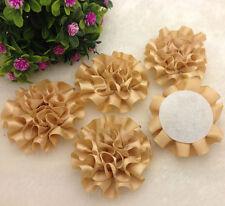 5pcs Beige color satin ribbon big Peony Flower Appliques/Wedding/decoration~