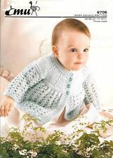 """Vintage Knitting Pattern, Emu 8706 Baby Matinee Coat/Cardigan 17-19"""" DK"""