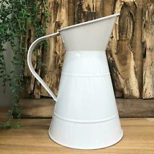 Decorative White Metal Jug Vintage Garden Planter Pot Wedding Vase Pitcher Decor