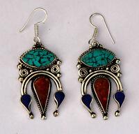 ethnic handmade hook classic sterlinag silver earrings tops turquoise ER2