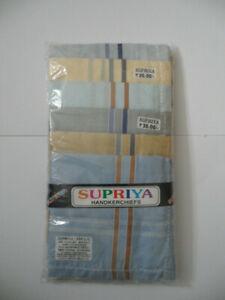SUPRIYA Cotton Multi-colour Handkerchiefs Packet 11 India Stripe Chequer 43x43cm