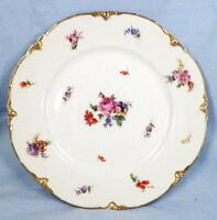 Dresden Flowers Luncheon Plate Warwick China Multi Color Gold Daubs WAR101
