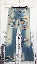 """Allen B By Allen Schwartz Painted Jeans Tag Sz 29 Actual 33"""" Artist Flare Hippie"""