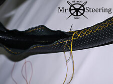 FITS MERCEDES W124 PERFORATED LEATHER STEERING WHEEL COVER YELLOW DOUBLE STITCH