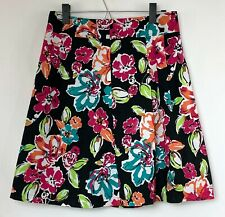 Ann Taylor Womens Black Flare Skirt w Blue Pink Green Floral Print Size 2 NWOT
