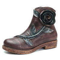 SOCOFY Women's Handmade Roses Ankle Leather Boots Comfy Zipper Winter Shoes
