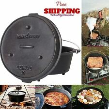 12 QT Cast Iron Dutch Oven with Legs Lid Outdoor Kitchen Cookware Camp Cooking