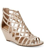 size 9 Nude Wedge Strappy Open Toe Sandals Womens Shoes NEW