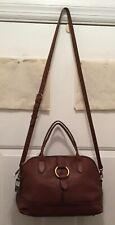 NWT FRYE Leather Ring Dome Satchel Handbag Purse DB693 Cognac Brown MSRP $398
