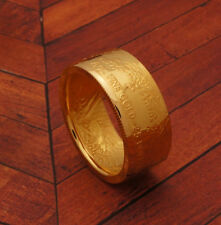 "1/2 oz Gold Eagle Coin Ring 22K - Polished ""Tails"" - Size 5-12 - Random Date"