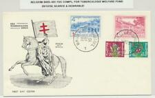 BELGIUM 1950 TUBERCULOSIS WELFARE SET ON FIRST DAY COVER Sc#B485-91 (SEE BELOW)