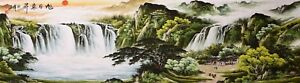GIANT ORIENTAL ASIA ART CHINESE FAMOUS SANSUI WATERCOLOR PAINTING-Waterfall&Tree