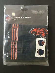 Chicago Bears YOUTH SIZE Licensed 2 Pk Face Mask Covering - 50% Off SRP!