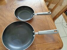 "2 FARBERWARE NONSTICK FRY PANS SKILLETS 8"" & 10"" GRAY / SILVER"
