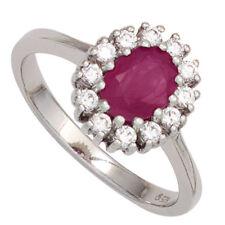 Damen Ring 925 Sterling Silber rhodiniert Rubin rot 12 Zirkonia Silberring Gr.60
