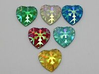100 Mixed Color Flatback Resin Heart Cabochon With Glitter 12X12mm