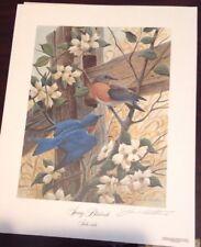 John Ruthven 1990 Spring Bluebirds Art Print Lithograph very Rare