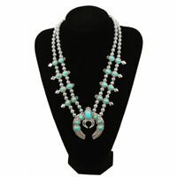 Vintage Silver Squash Blossom Necklace For Women High-Quality Stones Long Green