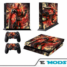 Deadpool Marvels Playstation 4 Console Skin Vinyl + 2 Controller stickers