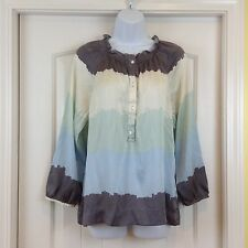BCBG Max Azria 100% Silk Gray Ivory Green Blue Watercolor 3/4 Sleeve Sz M Blouse