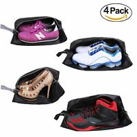 YAMIU Travel Shoe Bags 4-Pack(2 Sizes) Waterproof Nylon with Zipper (Black)