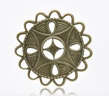 50 Bronze Tone Filigree Wraps Connectors 37x37mm