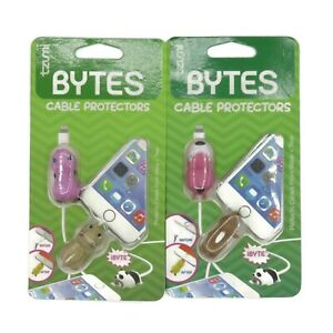 Tzumi Bytes Cable Protectors 2 Pack #6008 #7137 Cute Animal Shapes Phone Charger