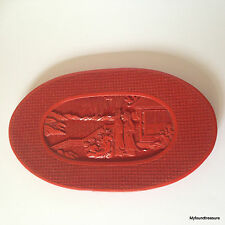 Oriental Faux Cinnabar Oval Plate - Intricate Design - Vintage Molded Plastic