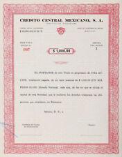 MEXICO B/69a CREDITO CENTRAL MEXICANO, S.A. 1 acción de $1,000 pesos de 1969