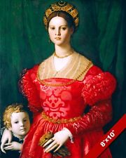 YOUNG NOBLE WOMAN MOTHER & SON 16TH CENTURY ITALY PAINTING ART REAL CANVAS PRINT