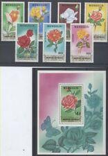 FLEUR ROSES Mongolie 7 val 1 bloc de 1988 ** FLOWER BLUME FIORE KULTURROSEN