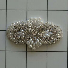 PEARL BEADED RHINESTONE DESIGNER APPLIQUE 2441-C