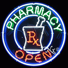 "New ""Pharmacy Open"" 26x26x3 Round Real Neon Sign w/Custom Options 11160"