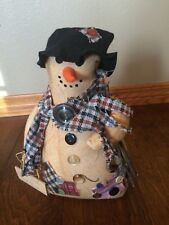 "Stuffed Fabric Snowman Plaid black Hat Country Christmas Decor ""Wood 4 sale"" 12"""