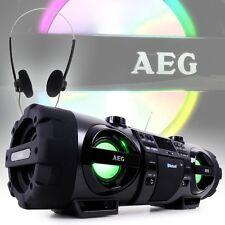 Bluetooth Ghettoblaster USB MP3 CD Licht Audio Hi-Fi tragbar Kopfhörer Sound AEG