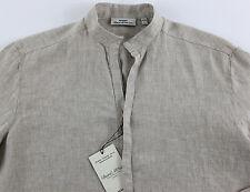 Men's MURANO Khaki Sexy Linen Shirt Large L NEW NWT HOT!!