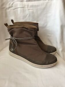 CLARKS Brown Canvas Rubber Sole Ankle Boots - UK Size 7