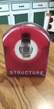 Vintage STRUCTURE Digital Stainless Watch Black RubberBand Light Sealed Case NOS